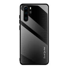 Texture Silicone Hard Cases 9H Tempered Glass Phone Case For Huawei P30 P20Pro