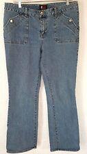 Blue denim jeans sz 12 mid rise straight leg light wash cotton stretch 32 inseam