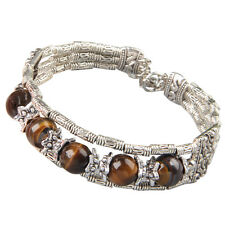 "Tibetan Tibet Silver Tiger Eye Stone Bracelet Bangle 0.66"" 17mm HOT"