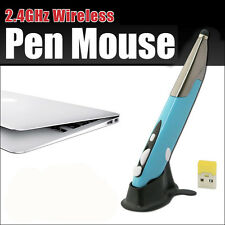 Blu 2.4g pr-06 Penna WIRELESS USB OTTICO MOUSE MICE PER PC disegnare l'insegnamento Design