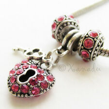 Hot Pink Key To My Heart European Charm Bead Trio - October Birthday Birthstone
