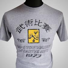 Introduce el torneo de Hans Camiseta de Dragon Retro Película Gris MMA Kung Fu Bruce Lee