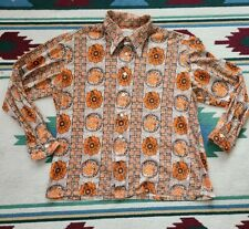 Vintage 70's Disco Floral Shirt Size Xlarge Button Front Pointy Collar