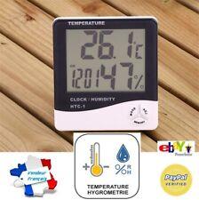 Thermomètre Digital LCD Hygromètre Horloge Alarme Humidité
