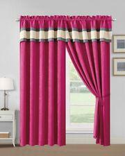 Modern 4 - Piece Pink, Grey Color Block CURTAIN SET Drapes/Window Panels