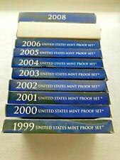 (10) US Mint Proof Sets 1999-2008 Includes All Statehood Quarters