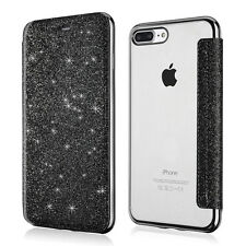 Bling Glitter Leather Flip Case Silicone Clear Cover Wallet for iPhone 6s 8 Plus