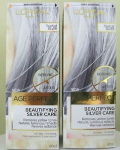 2 X L'OREAL AGE PERFECT BEAUTIFYING SILVER CARE TOUCH OF SILVER