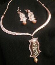 Matte Rosegold Light Green Fashion Diamond Necklace and Earrings/Meenakari Set
