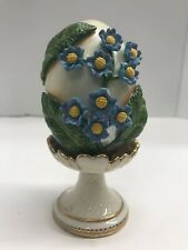 Fitz & Floyd Classics Floral Egg Porcelain Vintage On Stand Blue Flowers 5� Tall