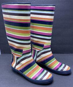 Coach Pammie Rubber Boots Rainboots Legecy V Stripe Shoes SZ 8 Rain Boots.