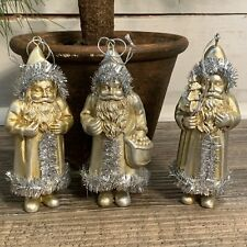 Lot of 3 Santa Christmas Ornaments Resin Metallic Gold w Silver Tinsel Trim 4.5""