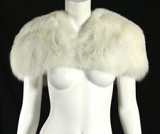 CAROLINA HERRERA White Fox Fur Capelet Bolero Jacket S