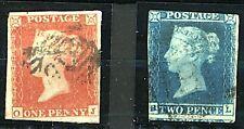 GB QV 1841 1d red imperf sg8 and 2d blue imperf sg14 cv£120 (2v) FU Stamps