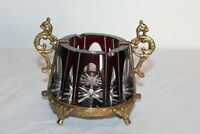 Vintage Victorian Style Cut To Clear Glass Astray Gold Gilded Handles Accents