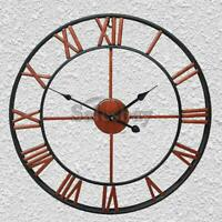 50cm Round Wall Clock Metal Industrial French Provincial Antique Iron Vintage