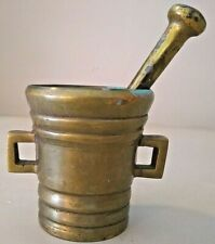 Antique Brass Mortar and Double Side Pestle, Apothecary Collectible