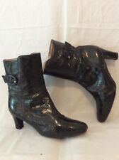 Unisa Dark Green Ankle Leather Boots Size 40