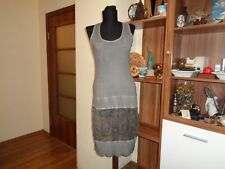 ILSE JACOBSEN GREY WASHED STRETCH RIB JERSEY AND SILK QUIRKY BUBBLE DETAIL TUNIC