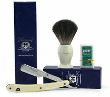 3 Pcs Men's Shaving Set. Black Badger shaving Brush-Cut Throat razor +Blades