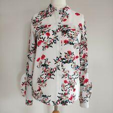 Adolfo Dominguez Women's White Red Floral Shirt Blouse Size 36/ UK 8