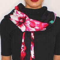 INC International Concepts floral bouquet women's scarf wrap pashmina -Black/Red