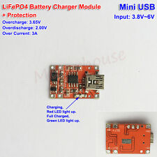 5V Mini USB 3.6V 3.2V LiFePO4  Battery Charging Board Charger Module+Protection
