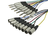 "10ft 8-Channel 6.35mm 1/4"" inch TRS Male to XLR 3-Pin Male Audio Snake Cable"