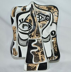 Paper Mache Face Mask Picasso Style Cubist Wall Art Costume Decoupage Abstract
