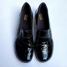 Clarks Black Croc Print Patent Leather Wedge Shoes Loafers Womens Size 9 M