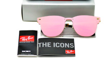 Ray-Ban Clubmaster Sunglasses RB3576N Blaze Pink Mirror Lens Gold Frame 47mm