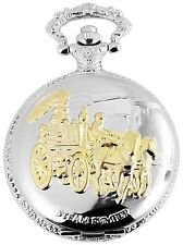 Reloj de bolsillo Blanco Dorado Metal Entrenador Caballos S-50742408206299
