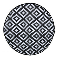 Charles Bentley Indoor or Patio Medium Round Rug Black Outdoor Pattern