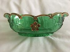 Antique Emerald Green Master Berry Bowl Delaware Pattern Gold Rim and Flowers