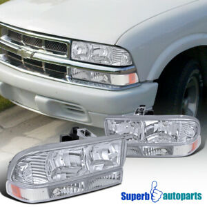For 1998-2004 Chevy S10 Blazer Crystal Clear Headlights+Signal Bumper Lights