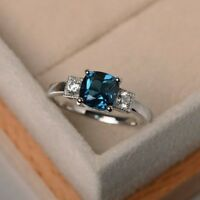 2Ct Cushion Indicolite Tourmaline Simlnt Diamond Engagement Ring White Gold Fnsh
