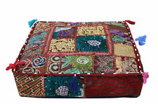 Vintage Jaipuri Handmade Indian Patchwork Saree Work Pouf cover 18* Inches