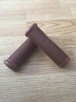 "Cafe Racer Bike Motorcycle Grips Brown Rubber Vintage Style 7/8"" Handlebar 22mm"