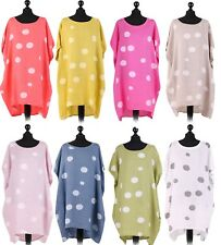 *New* Ladies Italian Polka Dot Linen Top Women Baggy Dress Lagenlook Tunic Top