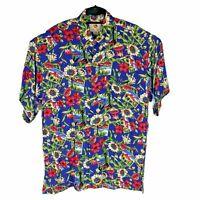 Mango Moon Wild Hawaiian Camp Shirt Floral Islands Bright Rayon Mens Size XL