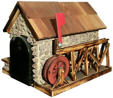 Old Mill Mailbox with Cedar Roof and Red Water Wheel Authentic Amish-made in USA