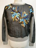 WOMENS FRENCH CONNECTION GREY OVER MESH BIRD OF PARADISE SWEATSHIRT M 10 BNWT