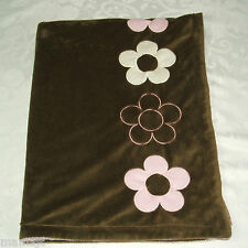 Dwell Studio Target Pink Brown Baby Blanket With 4 Flowers