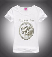 HORSE & WESTERN APPAREL EQUESTRIAN PRINT LADIES TEE SHIRT WHITE XL