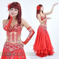 Sexy Belly Dance Costume Set 3 Pics Bra, Belt & Sleeves 34B 36B 38B 40B 13/5