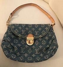 LOUIS VUITTON LV  Pleaty blue washed denim monogram shoulder hand bag Purse
