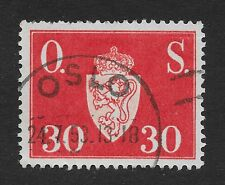 Norway 1951-2 National Arms New Edition Sg#O437, 30ore Scarlet Official (X2)