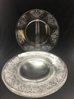 """Set of 5 - Morgantown Milan Clear Etched Glass Salad Plates 7 5/8"""""""
