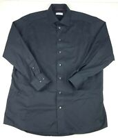 Eton Mens Luxury Dress Shirt L/S Sz 17 - 43 Solid Black Contemporary Fit Spread
