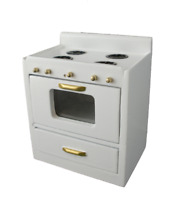 Dolls House White Modern Cooker Stove Unit Miniature Wooden Kitchen Furniture